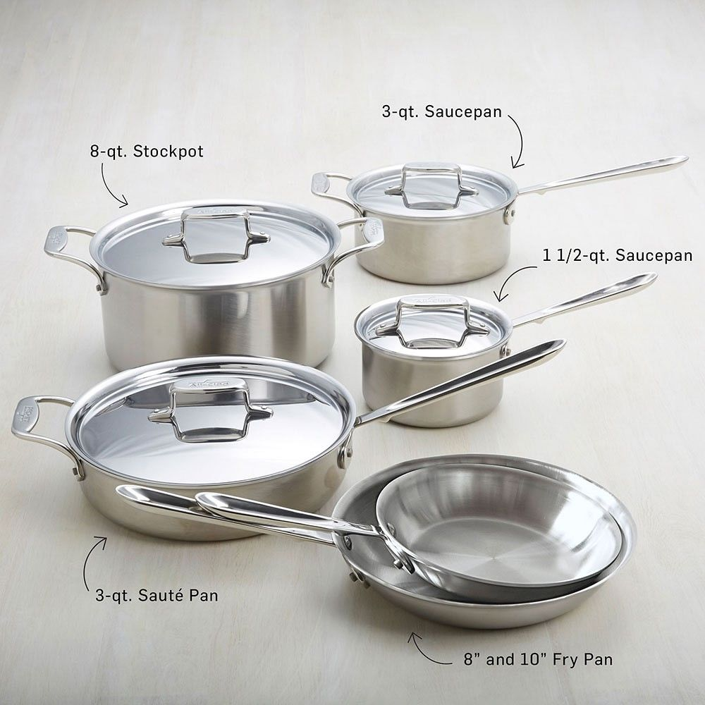 All Clad D5 Brushed Stainless Steel 10 Piece Set Cookware Set Cookware Set Best Brushed Stainless Steel All clad d5 10 piece