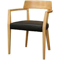 @Overstock.com - Laine Modern Light Wood Black Seat Dining Chairs (Set of