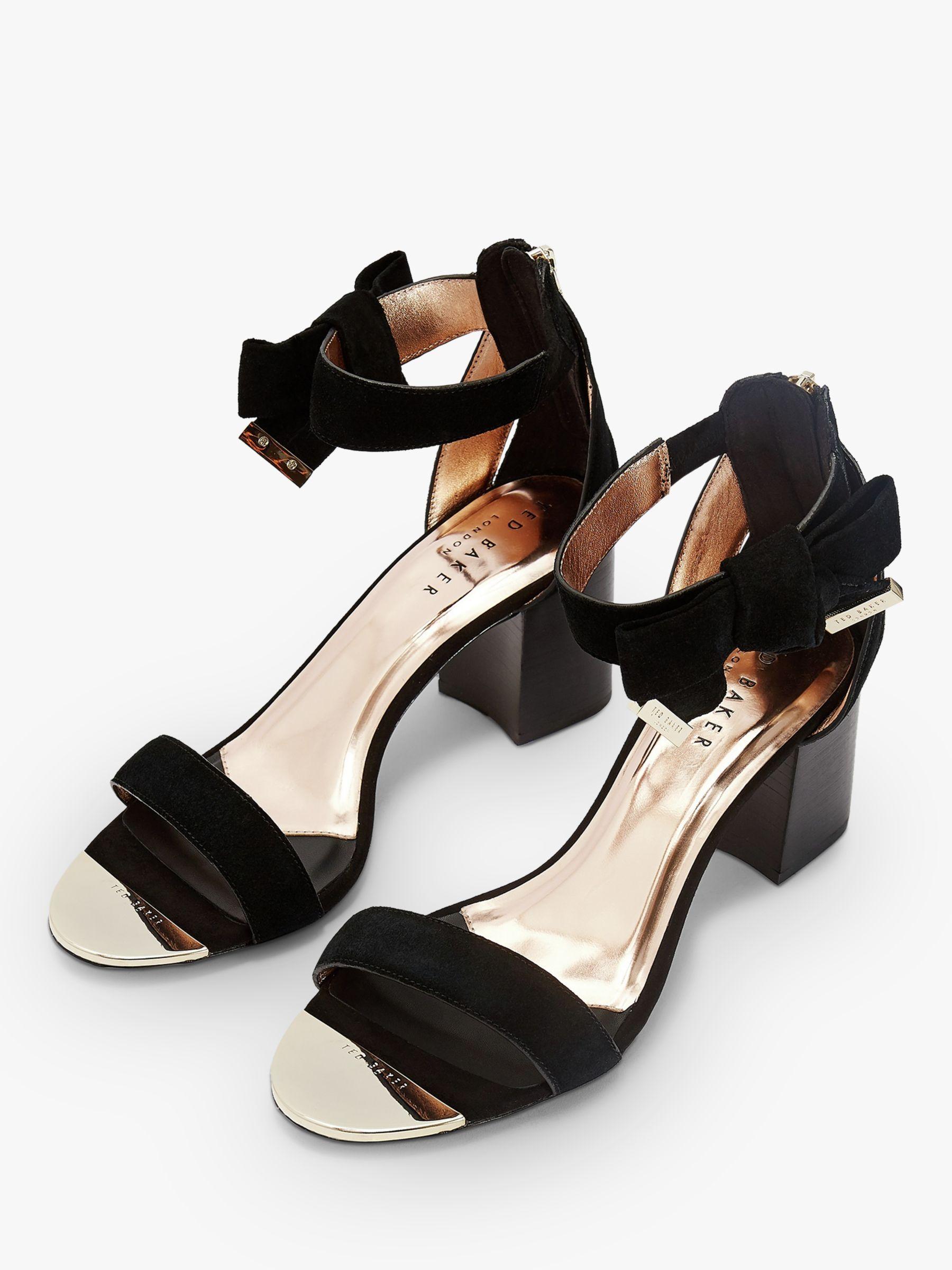 Ted Baker Loopie Suede Block Heel Sandals, Charcoal   Womens