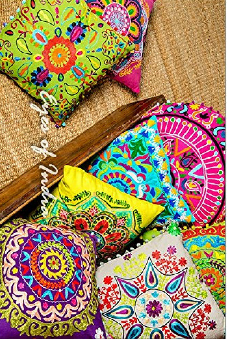 """16/"""" Pink Colorful Decorative Embroidered Pillow Sofa Cushion Cover Couch Throw B"""