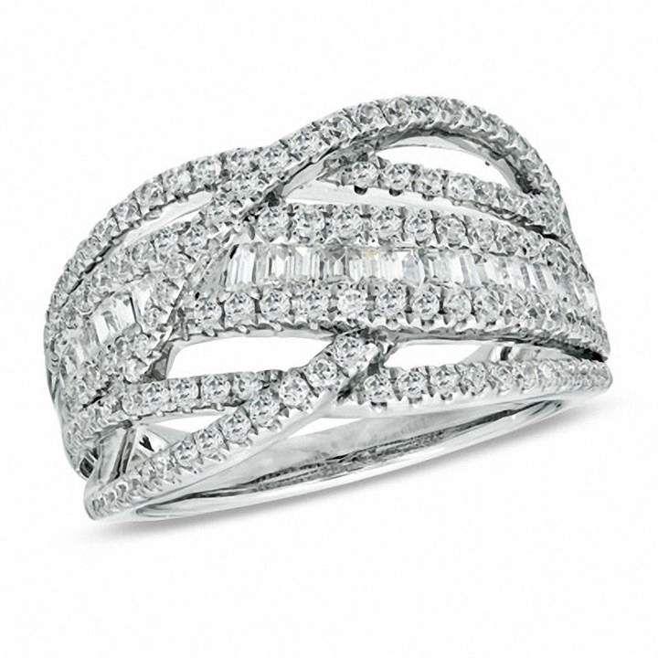 1 CT. T.W. Diamond Loose Braid Ring in 10K White Gold|Zales #loosebraids