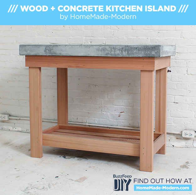 How To Make A Diy Kitchen Island With A Concrete Countertop Diy