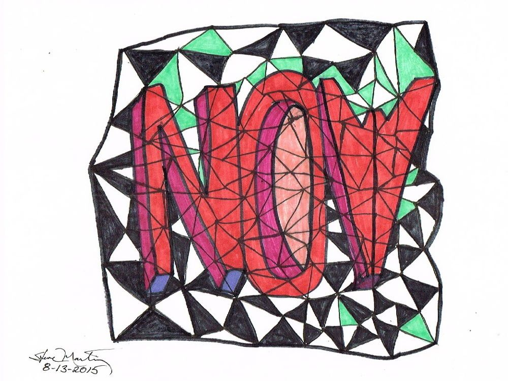 NOW-Pencil & markers-copy paper-small original art  #Abstract