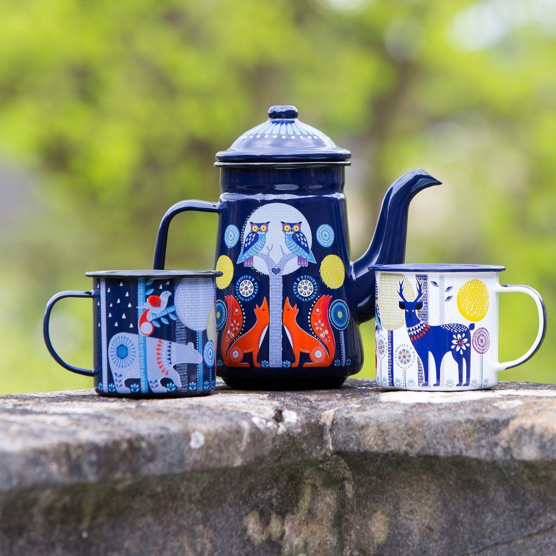 Folklore Night Coffee Pot Blue