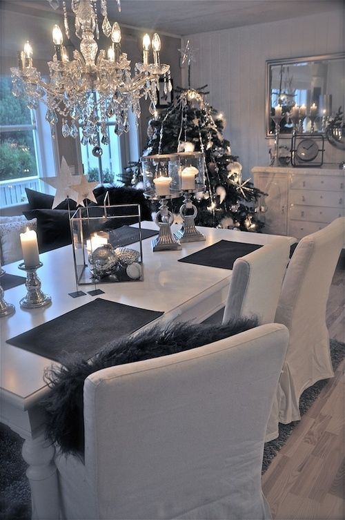 Love it black white grey christmas and dining room for Dark grey dining room