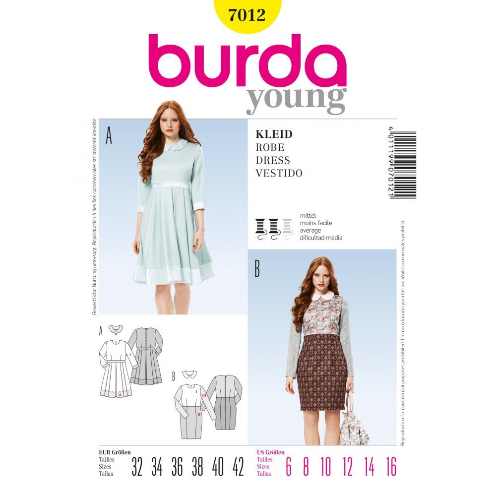 Burda Ladies Dresses with Peter Pan Collar Sewing Pattern 7012 ...
