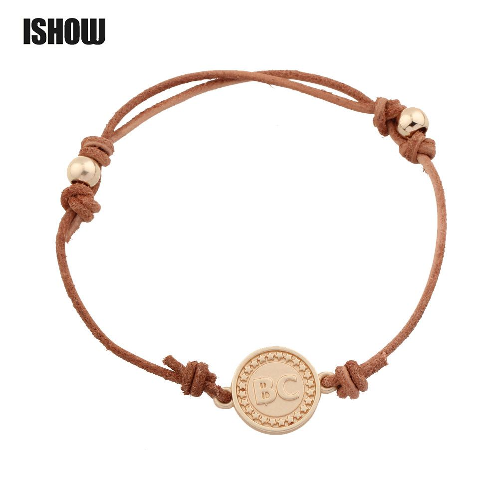 Gold color bitcoin leather bracelet simple handmade adjustable rope