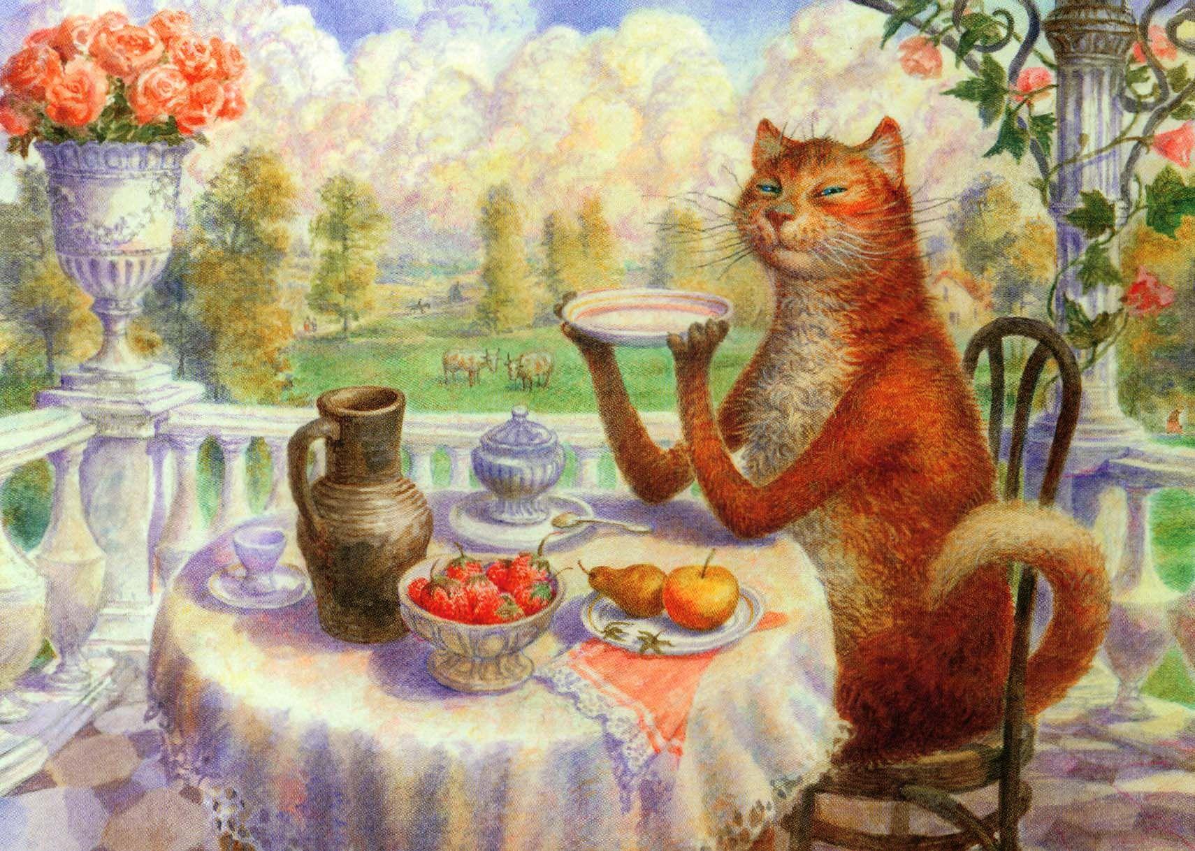 пьет чай рисунок