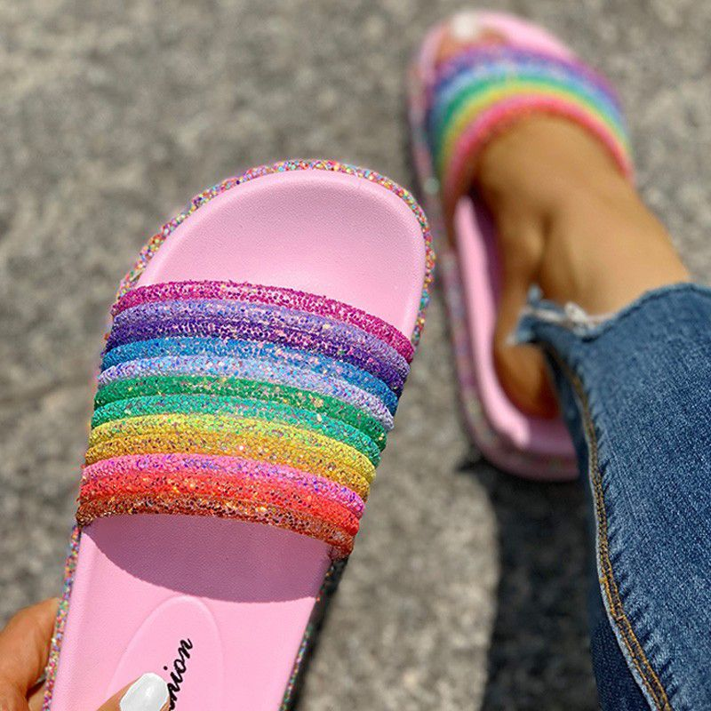 Rainbow Thick-Soled Slippers Casual