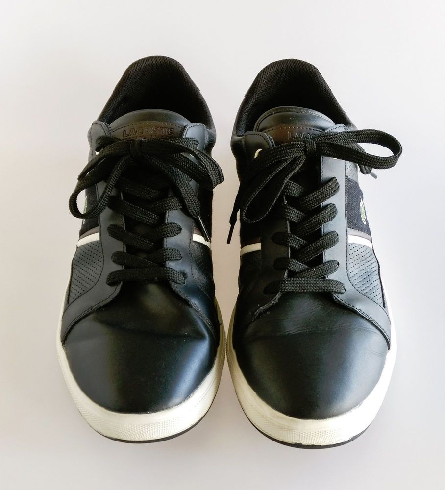 17505b949 Size US 13 UK 12 Lacoste Europa Mens Black Brown Leather Lace Up Sneakers  Shoes  Lacoste  FashionSneakers
