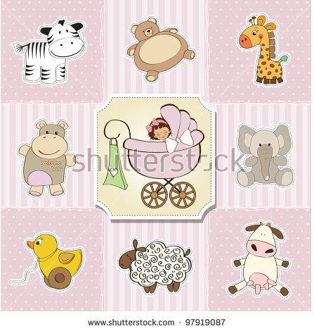 Baby Shower Card Template Vector Illustration  Punto De Cruz