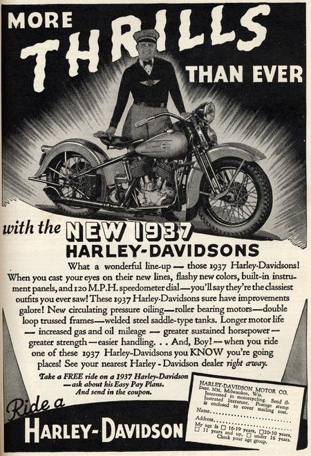 1937 Harley Ad Man I M Glad The Motorclothes Division Decided To Go A Different Direction Vintage Harley Davidson Motorcycles Vintage Harley