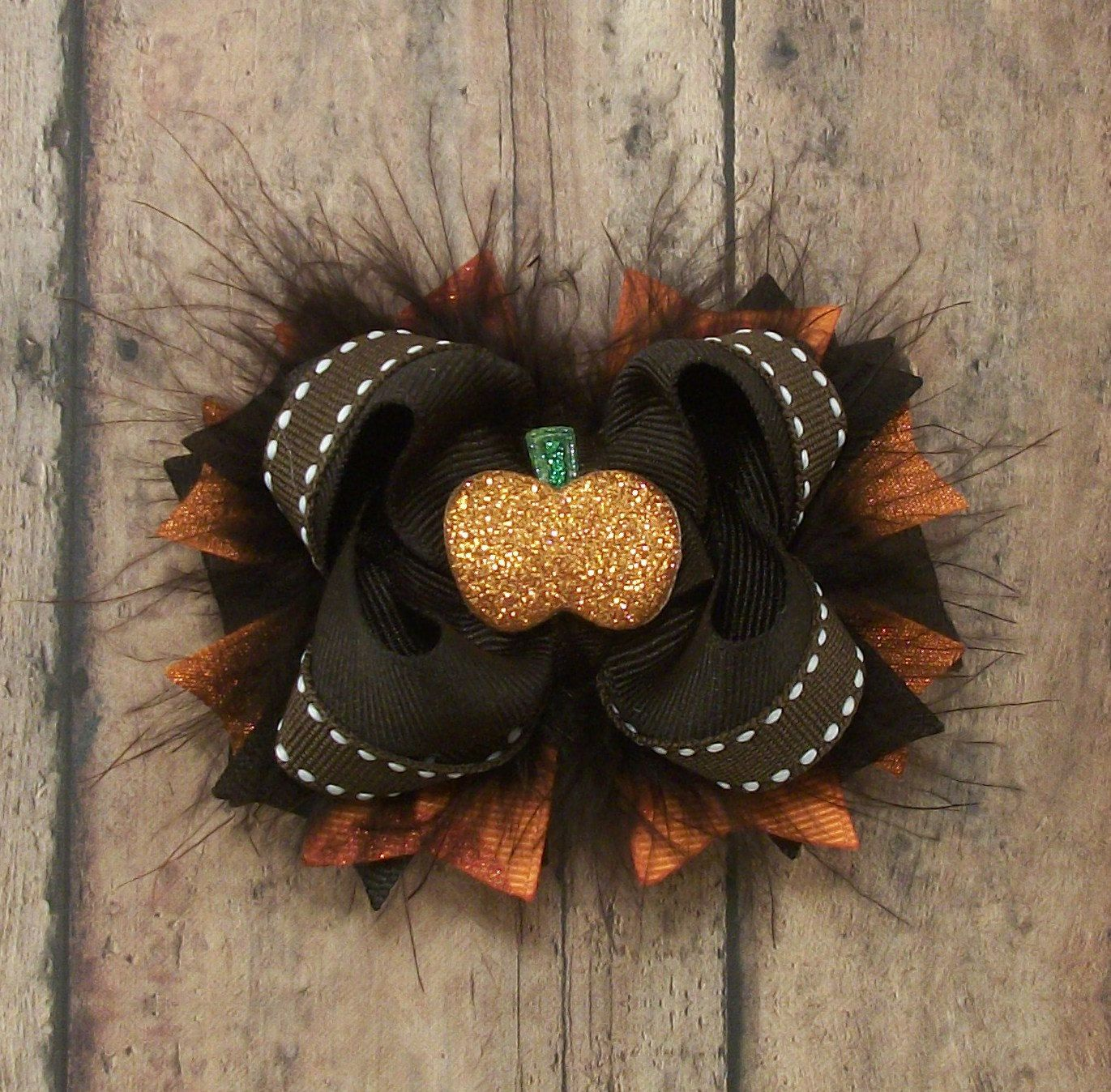 "Thanksgiving Autumn Fall Brown Orange Green Layered Hair Bow 4 1//2/"""