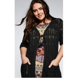 Photo of Large sizes: cardigan with short arm and tie, black, size 48/50 Sheego