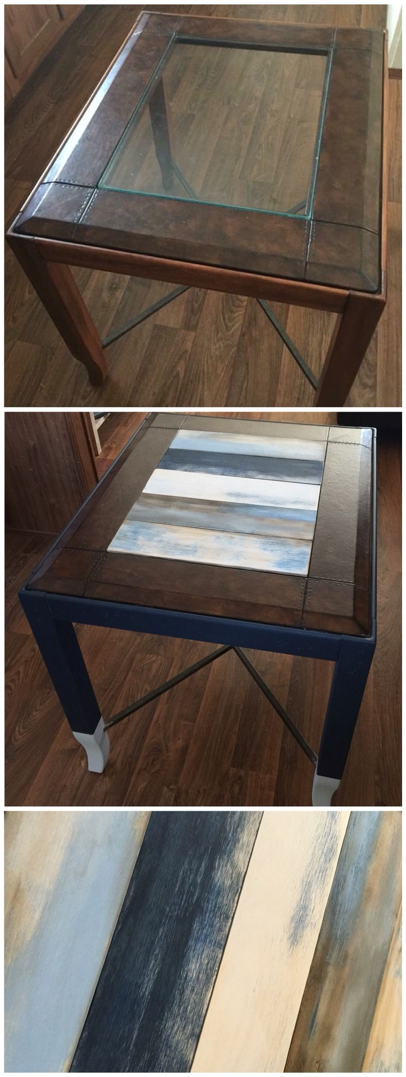 Replaced Glass Top End Table With Wood Panels And Distressed Each By Chalk Painting Sanding And Staining For Glass Top End Tables Glass Top Table Coffee Table [ 2208 x 834 Pixel ]