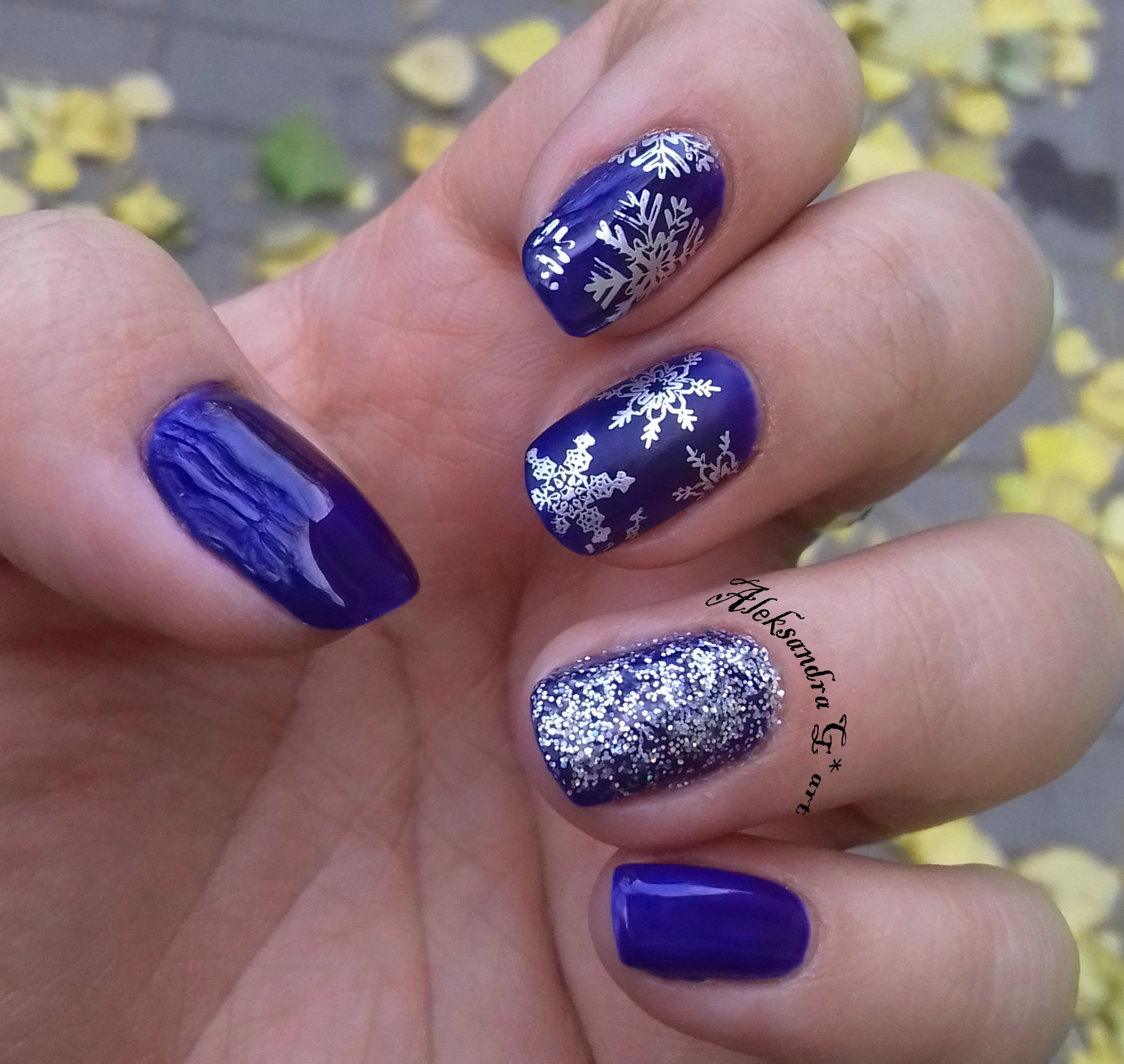Winter Nail Art Design with Born Pretty Stamping plate BP-01