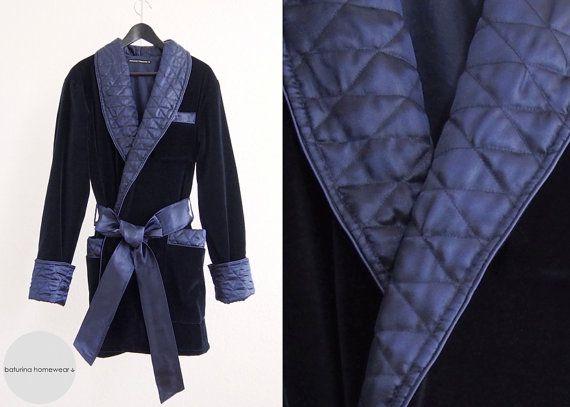 blueandgoldpromspirit Mens Smoking Jacket Navy Blue Luxury Velvet Silk  Cotton Morning Lounge Robe short Dressing Gown Quilted Shawl Custom  Tailored Elegant ... db5fb86fa