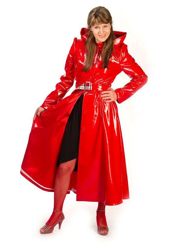 Red PVC Raincoat | raincoats | Pinterest | Raincoat, Pvc raincoat ...