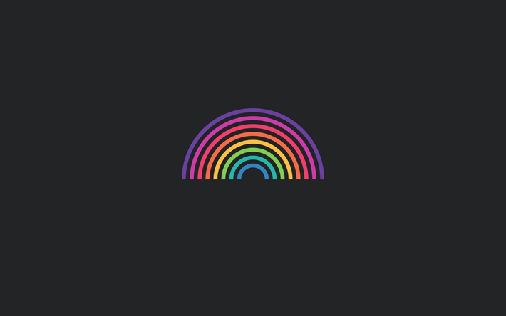 Download Wallpapers Rainbow Creative Minimal Colorful Spectrum Gray Background Besthqwallpapers Com Rainbow Minimalism Gray Background