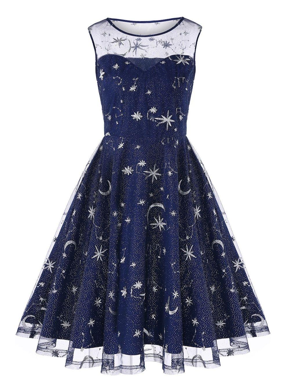 314cd26447ef Vintage Mesh Panel Moon Stars Embroidered Flare Dress - BLUE 2XL ...