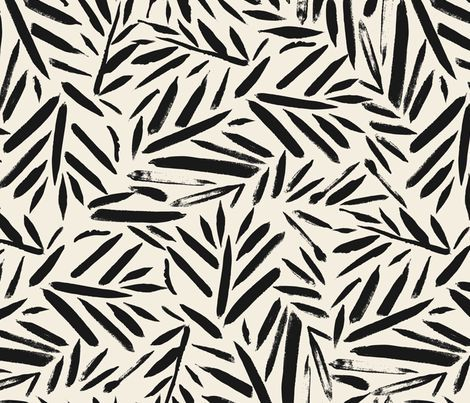 Not So Black And White Leaves Fabric By Crystal Walen On Spoonflower