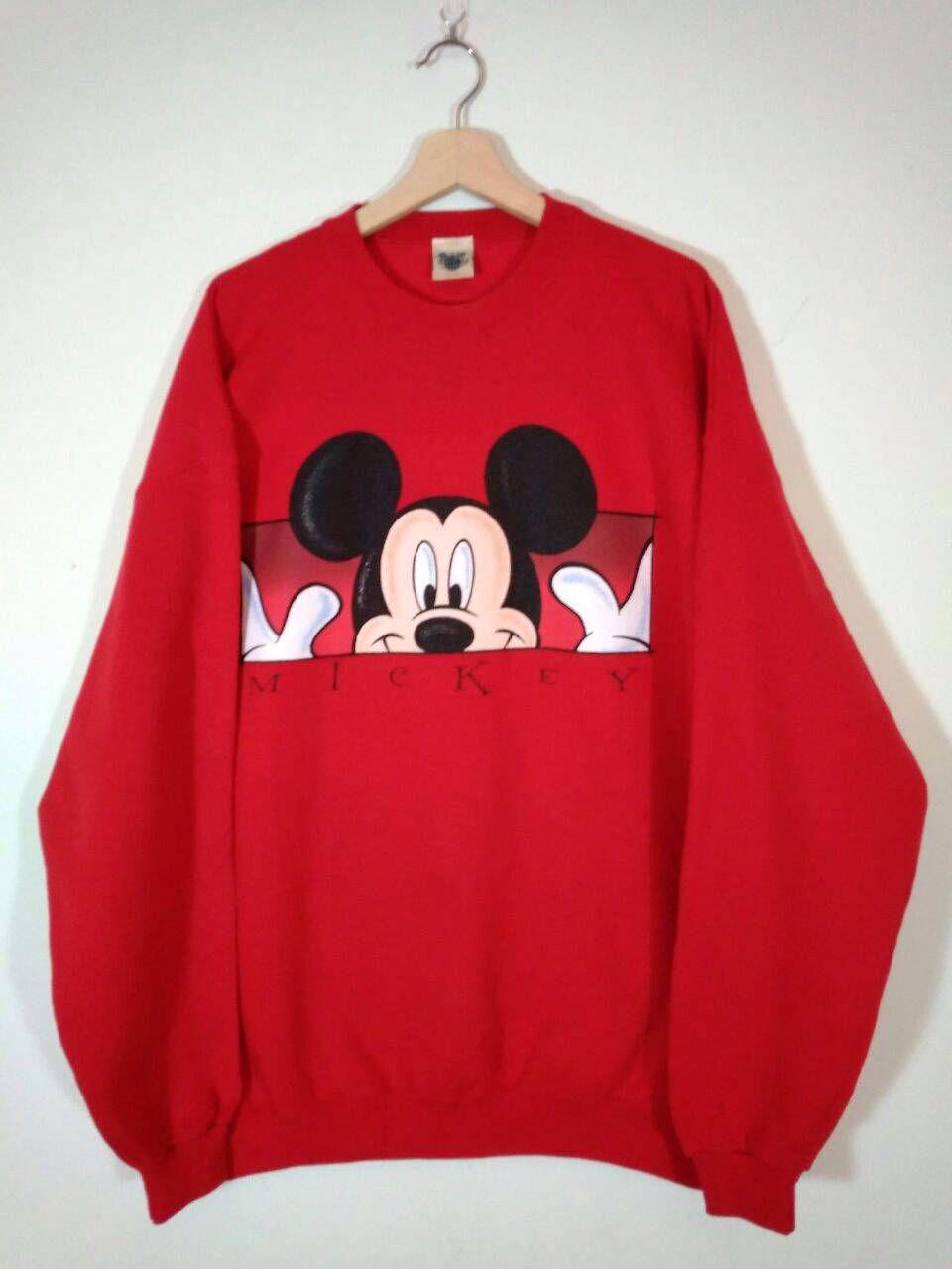 Rare Disney Mickey Mouse Red Crewneck Oversized Sweatshirt Sweater Jumper Size Xxl By Tweety3vintage On Etsy [ 1280 x 960 Pixel ]