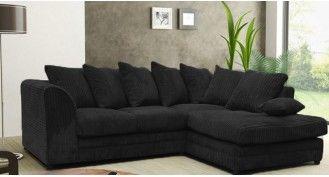 Jackson Corner Fabric Sofa : Black   Sofas   Corner sofa ...