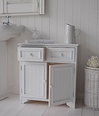 Maine Free Standing Bathroom Cabinet Double Cupboard With Drawers Open