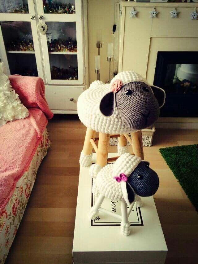 Lamb stools | Complementos crochet | Pinterest | Oveja, Bancos y Tejido