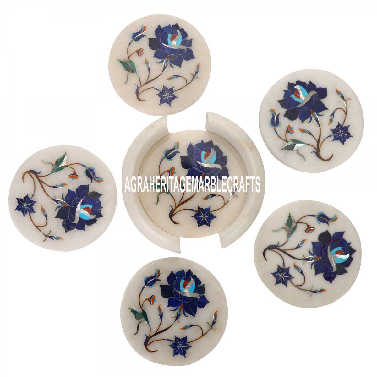 White Marble Coffee Coaster Set Lapis Lazuli Stone Inlay Table Arts Decor Gifts Tea Coaster Kitchen Decor Gifts Stone Inlay