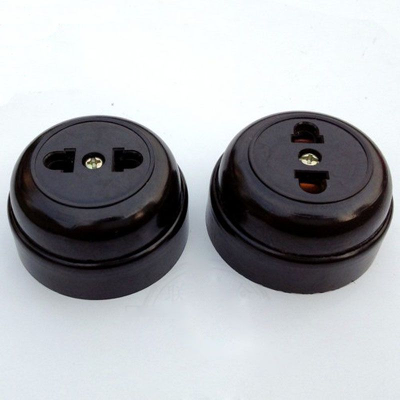 Wall Switches Socket Surface Mounted Two Hole Outlet Socket Strip Old Single Black 10a Circular In Wall Switches F Electrical Socket Sockets Electrical Outlets