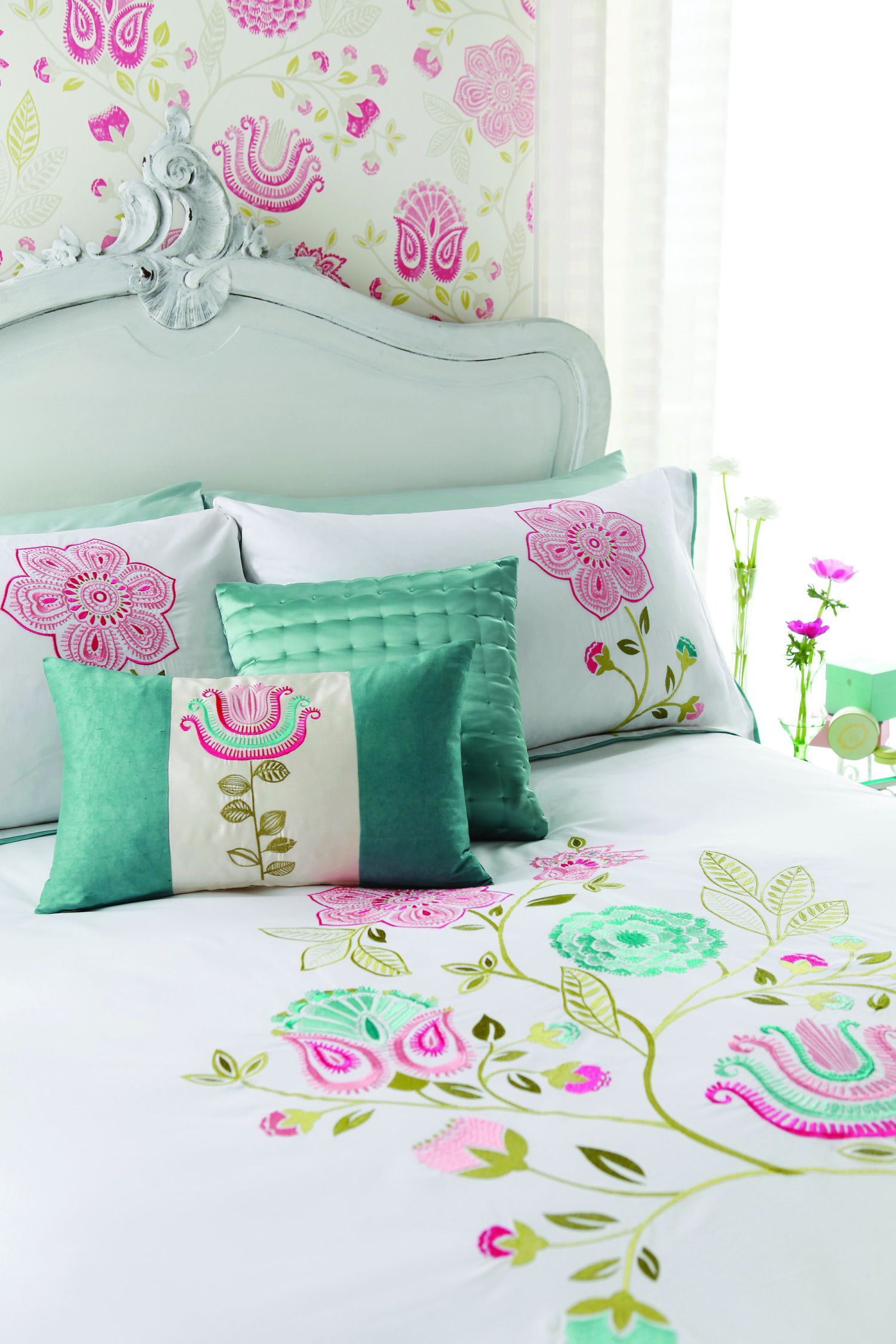 light blue and green floral, dainty girls bedding and