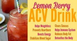 Berry Lemon Apple Cider Vinegar Drink Recipe! via Primally Inspired