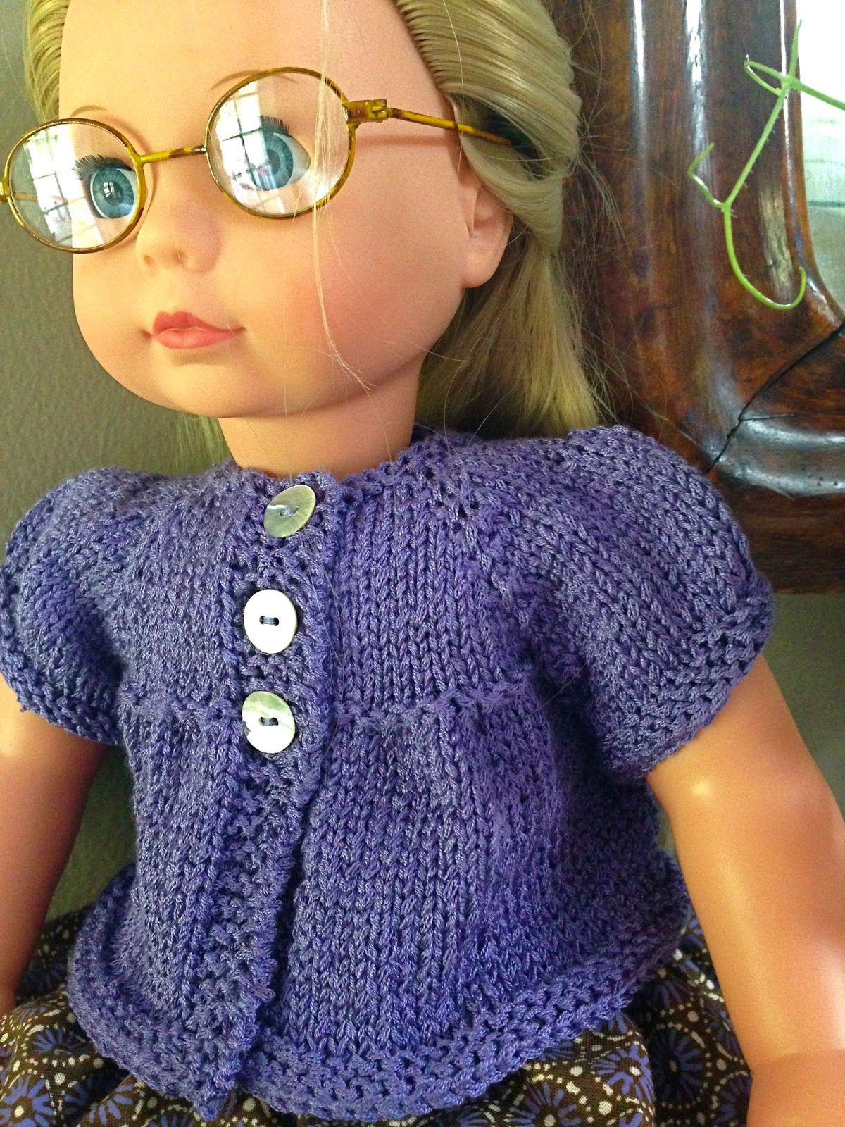 A Puffed Sleeves Cardigan For Dolls Free Knitting Pattern Knit