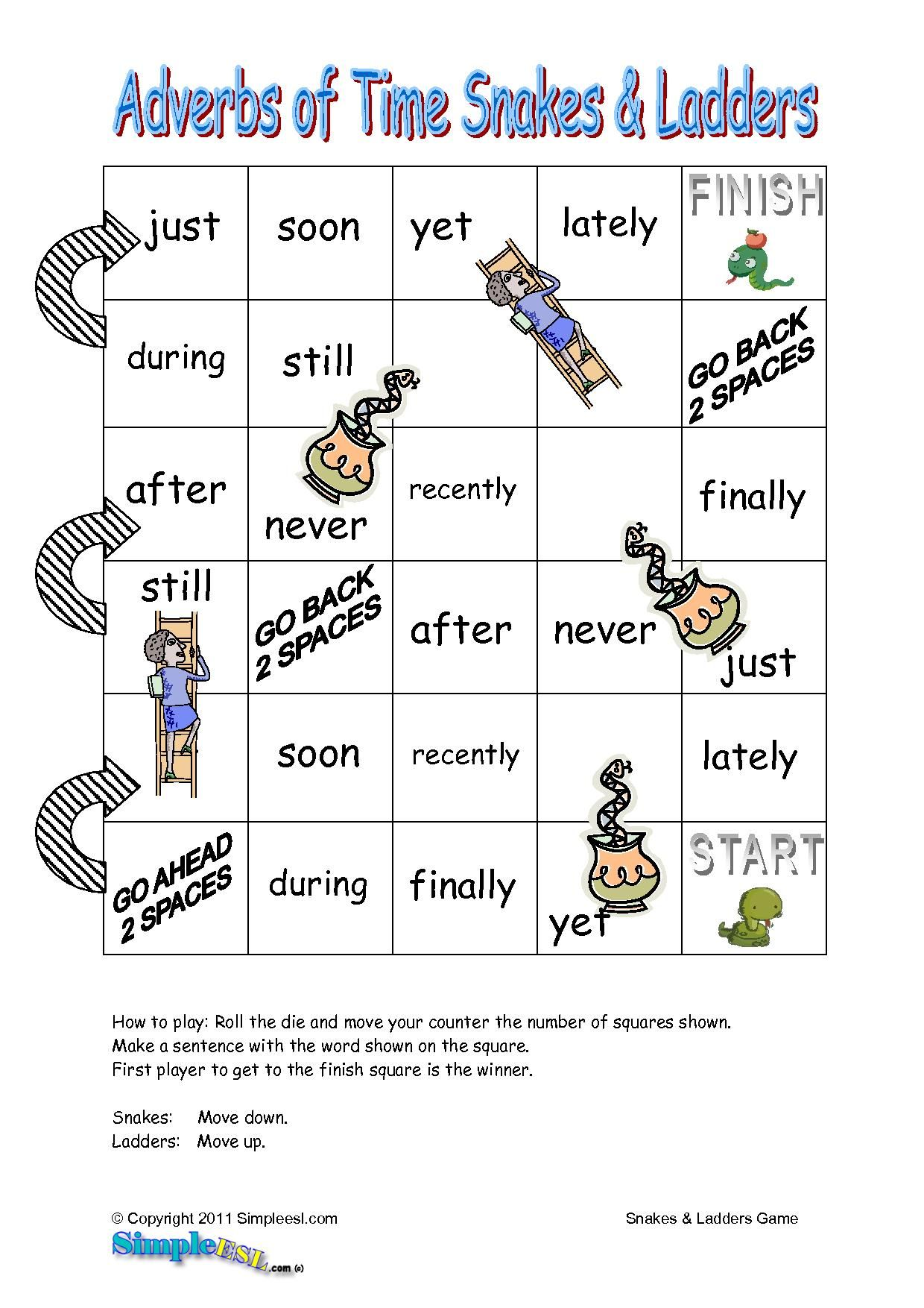 Adverbs Of Time Snakes Amp Ladders Game For Ells Esl