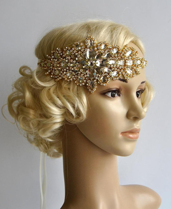 Gold Glamour Rhinestone Flapper Gatsby Headband, Wedding
