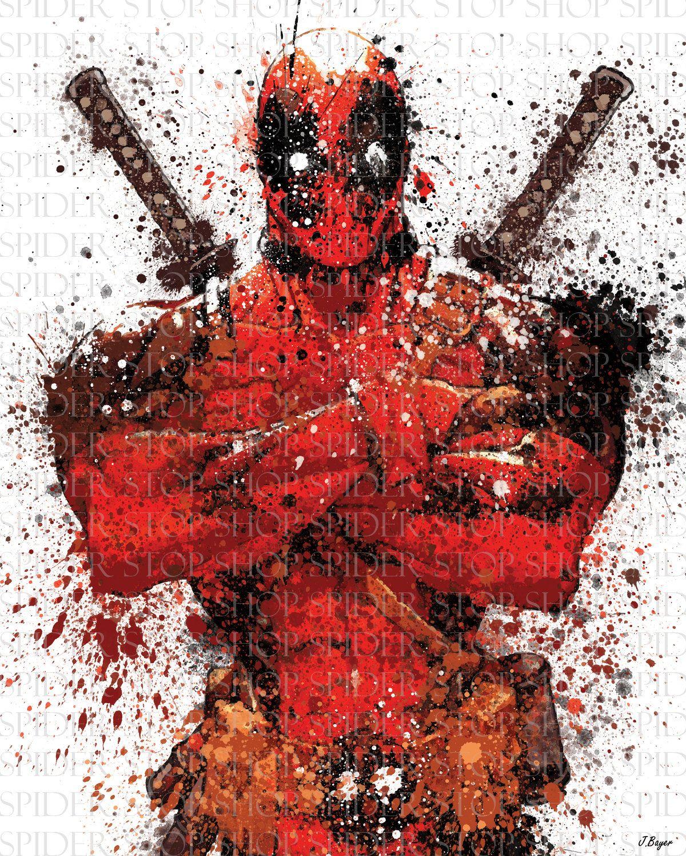 "Deadpool 2 Grunge ""18 x 24"". $20.00, via Etsy."