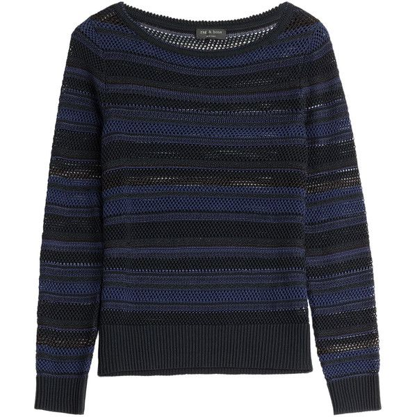 Rag & Bone Cotton-Viscose Striped Pullover (400 BRL) liked on Polyvore featuring tops, sweaters ...