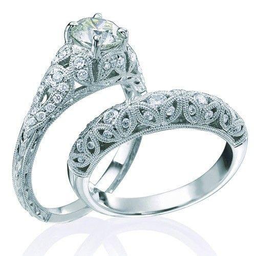 Vintage Round Cut Diamond Wedding Ring Set For Her On Jeenjewels