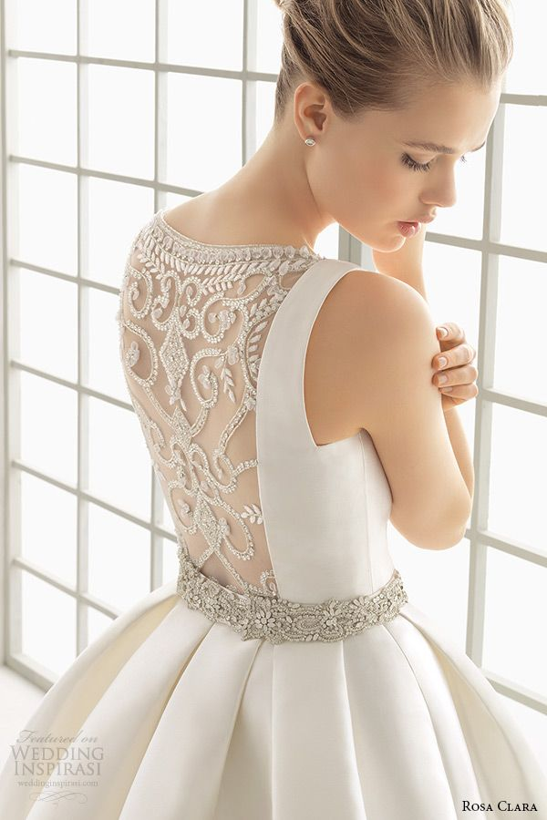 34c7e29ee87 rosa clara 2016 bridal collection bateau neckline sleeveless clean wedding  ball gown dress lace back delfos back zoom