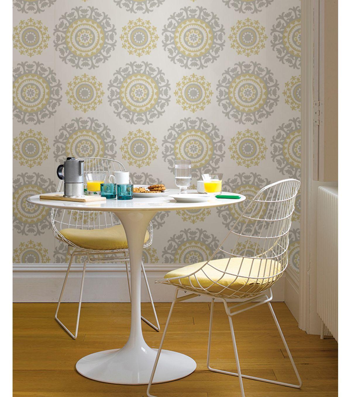 Wallpops Nuwallpaper Gray And Yellow Suzani Peel And Stick Wallpaper Jo Ann Nuwallpaper Peel And Stick Wallpaper Vinyl Wallpaper