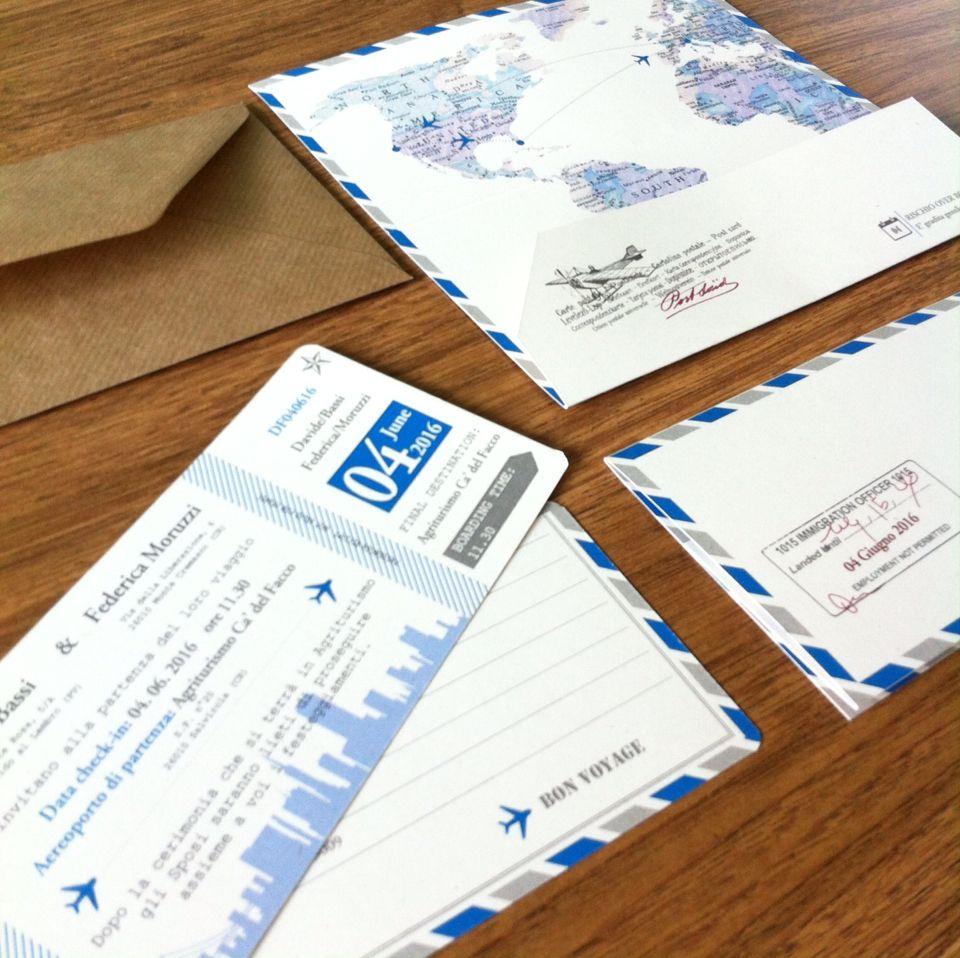 Partecipazioni Matrimonio Azzurro : Partecipazioni di matrimonio a boarding pass in azzurro e