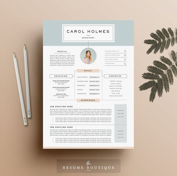 4 page Resume Template and Cover Letter + References Template for - designer resume template