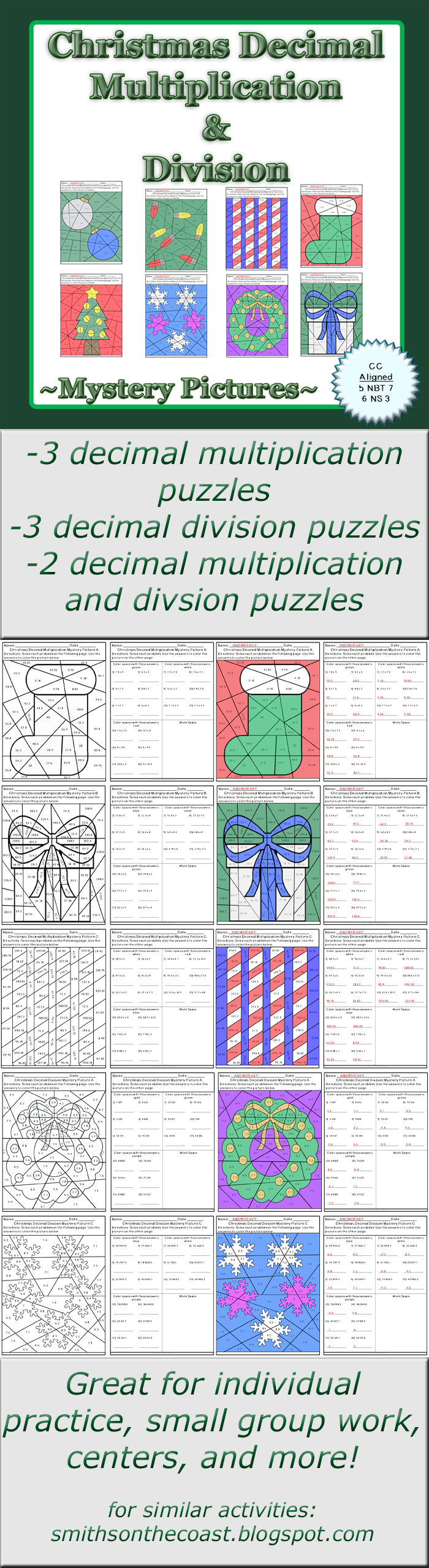 Christmas Decimal Multiplication and Division Mystery Pictures ...