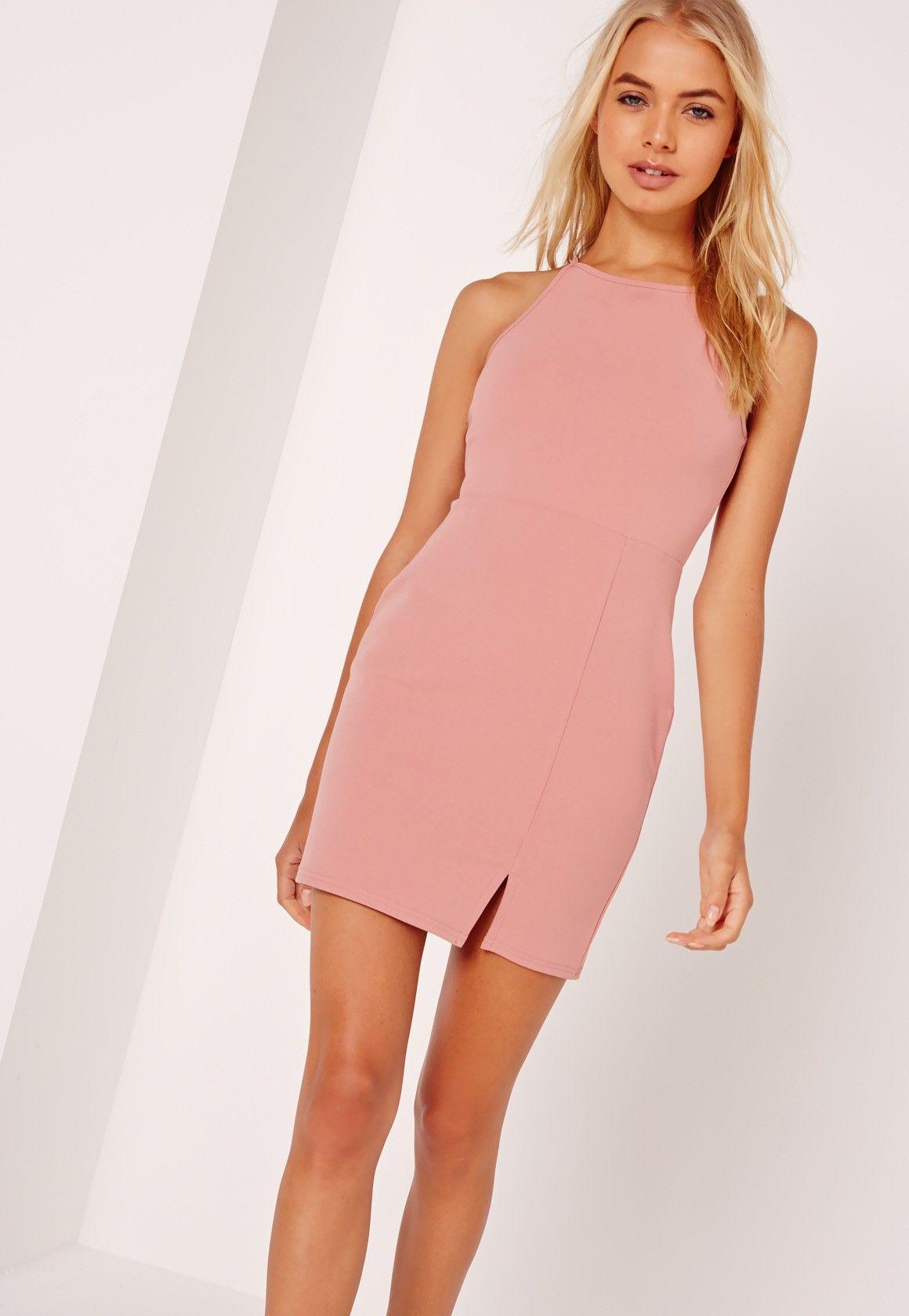 f13ce3979 Missguided - Petite Square Neck Side Split Mini Dress Pink | Things ...