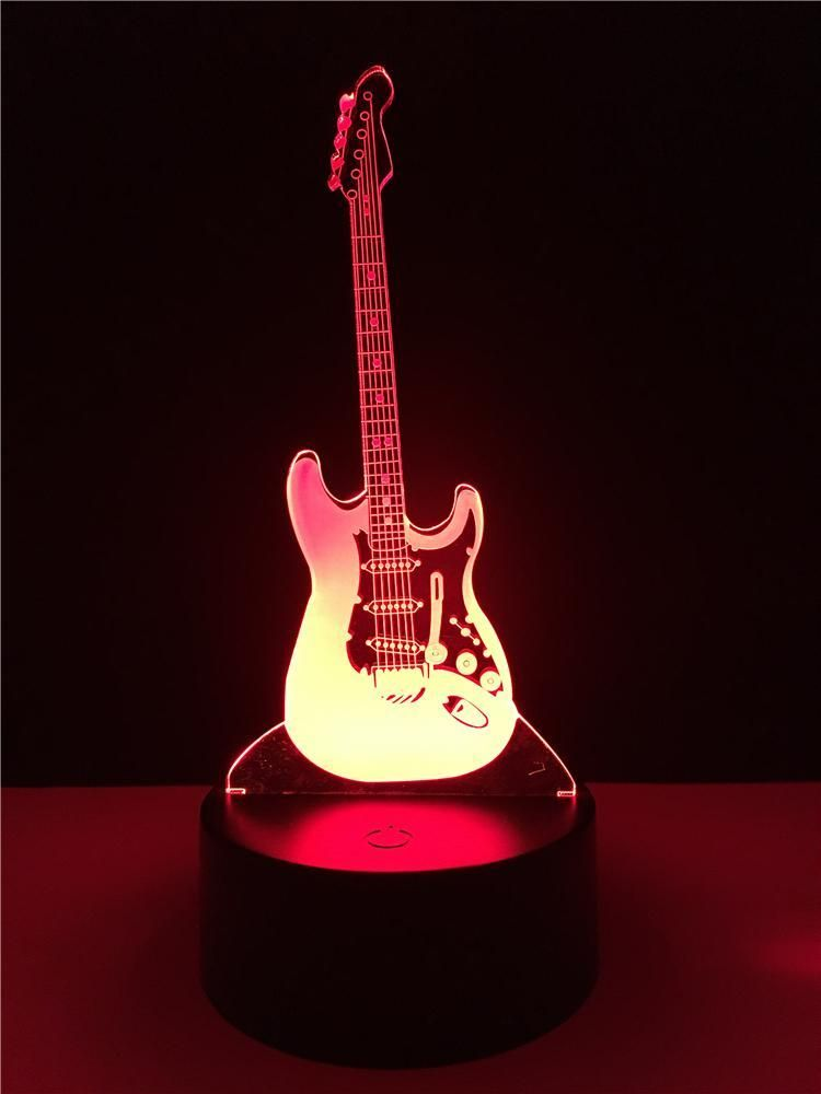 3d Electric Music Guitar Led Illusion Lamp Led Color Changing Lights Guitar Lamp 3d Led Lamp