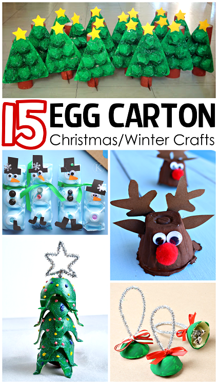 Christmas winter egg carton crafts for kids egg carton for Christmas decorations using egg cartons