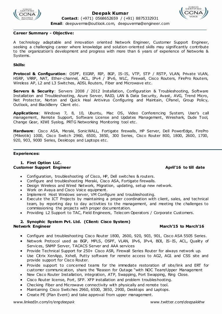 Network Engineer Resume Sample Lovely Resume For Network Engineer L2 Network Admin Team Leader Resume Examples Network Engineer Resume Summary Examples