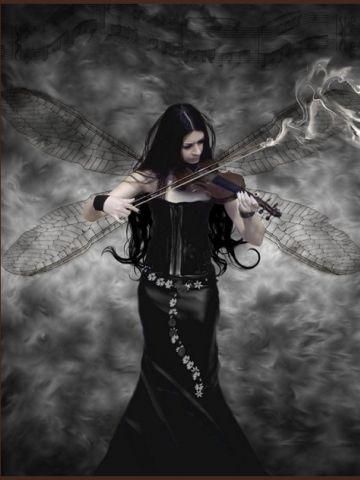 Fairy In Black Dress With Violin Wallpaper Iphone Blackberry Black Fairy Dark Art Fairy