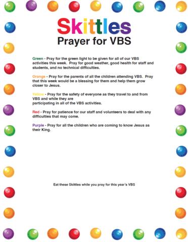 Skittles Prayer For VBS